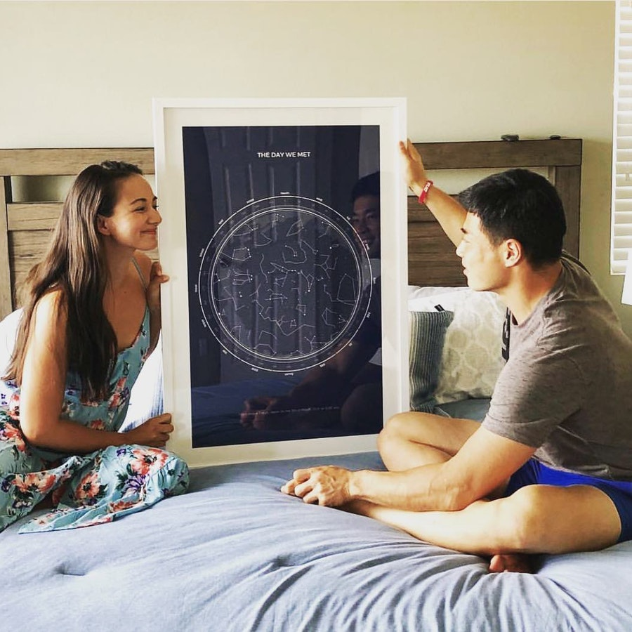 Smiling couple next to their black star map with white frame