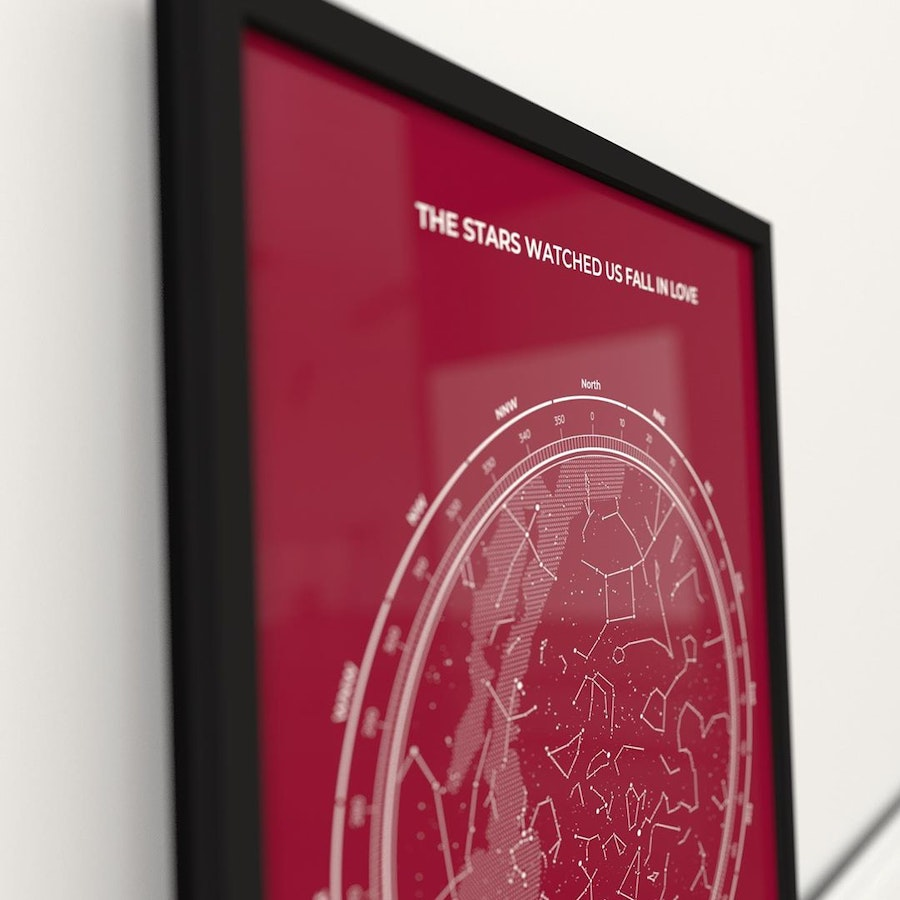 Passion red star map posters to match the intensity of your feelings