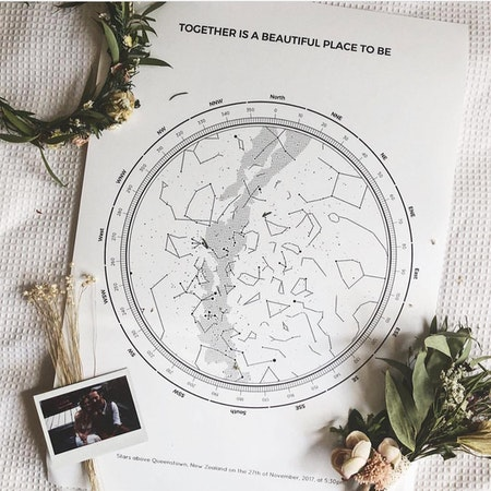 White wedding day star map