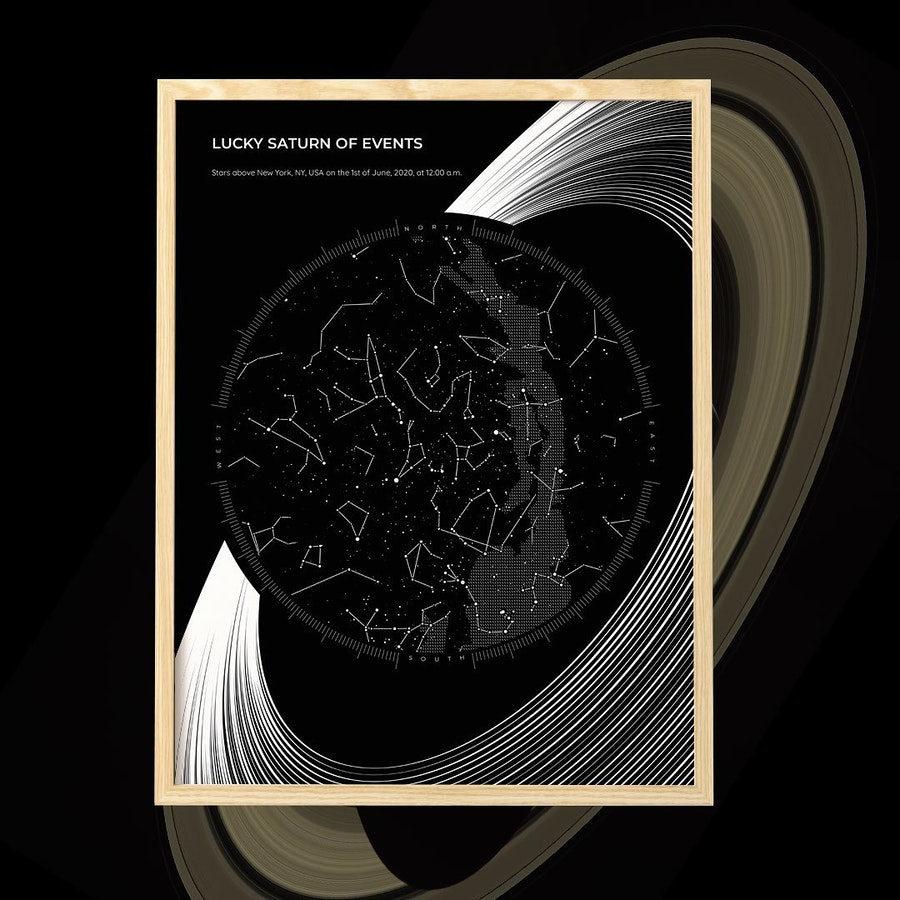 A Saturn inspired design for your star map memories